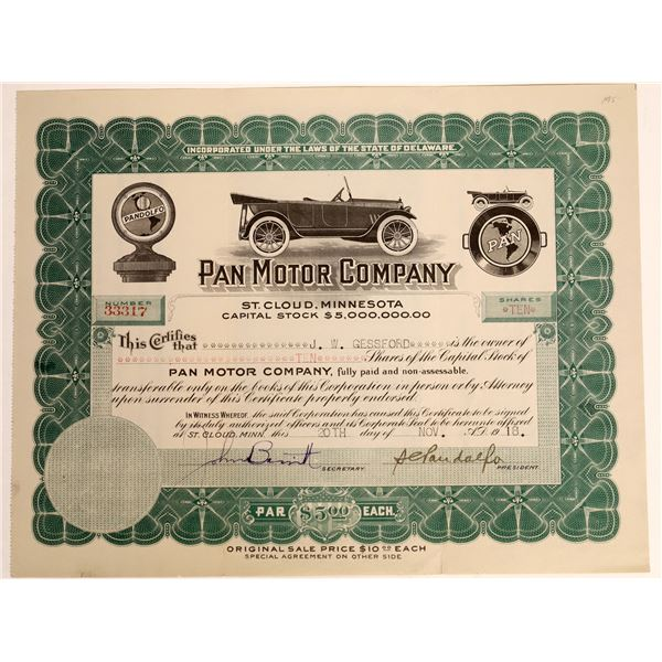 Pan Motor Company Stock Certificate With Auto Vignette, 1918  [111857]