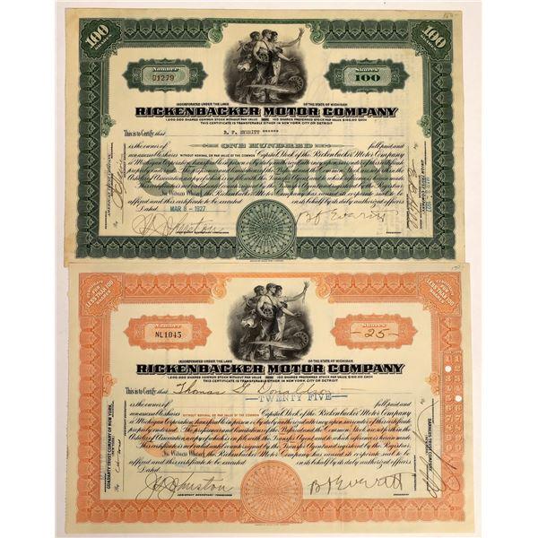 Rickenbacker Motor Company Stock Certificates (2)  [111861]