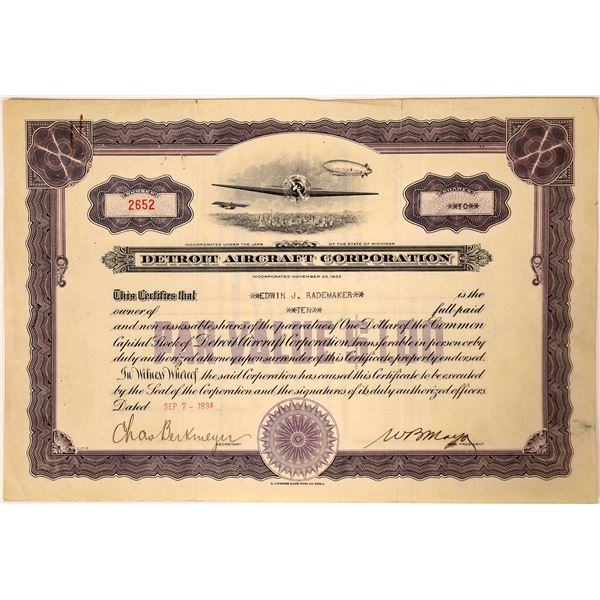 Detroit Aircraft Corporation Stock Certificate Handsigned by WB Mayo  [131872]