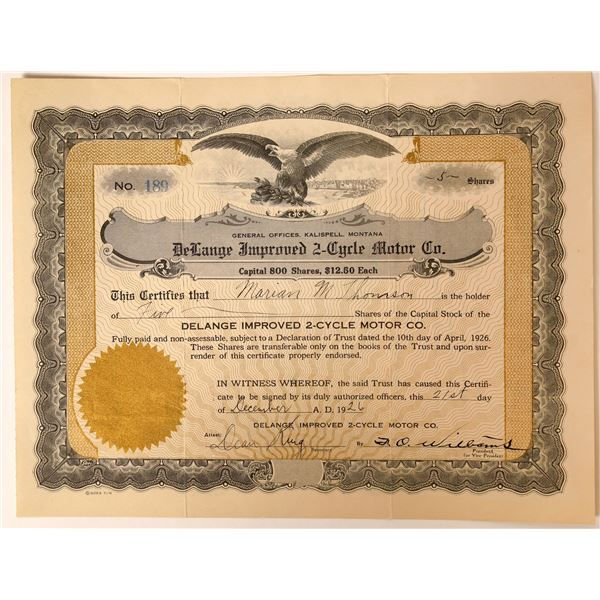 Aircraft Engine Invention 1926 Stock Certificate  [127968]