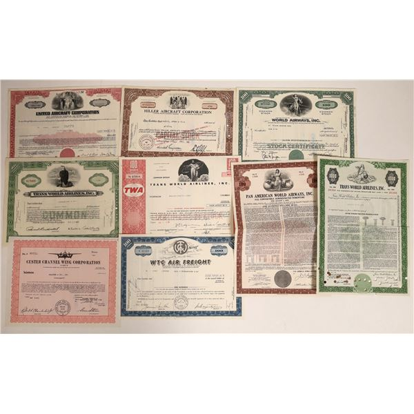 Airline Stock Certificate Group Including TWA (9)  [111867]