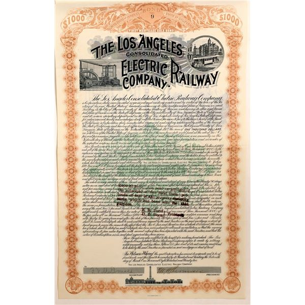 Los Angeles Cons. Electric Railway Bond Signed by Sherman (Sherman Oaks), 1892  [111882]