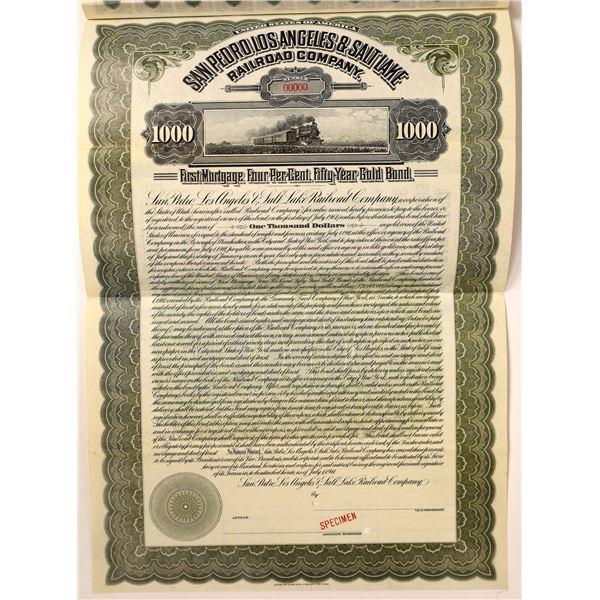 San Pedro, Los Angeles & Salt Lake Railroad Specimen Bond Certificate  [129567]