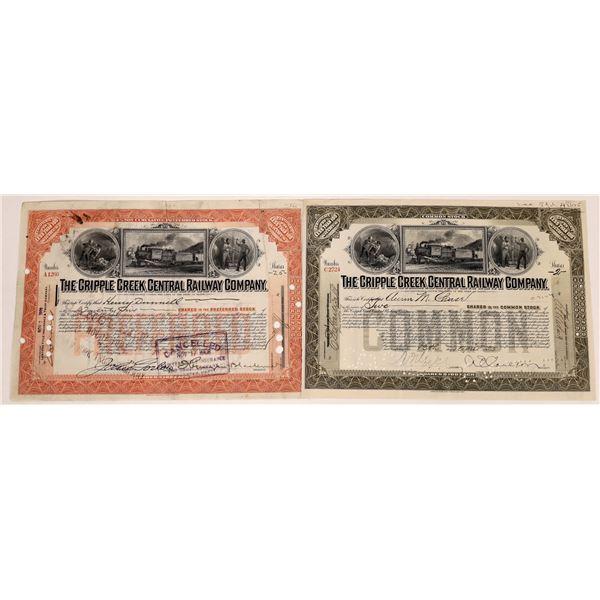 Cripple Creek Central Railway Co. Stock Certificate Pair  [135434]