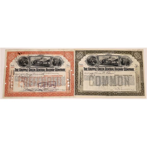 Cripple Creek Central Railway Co. Stock Certificate Pair  [135434]