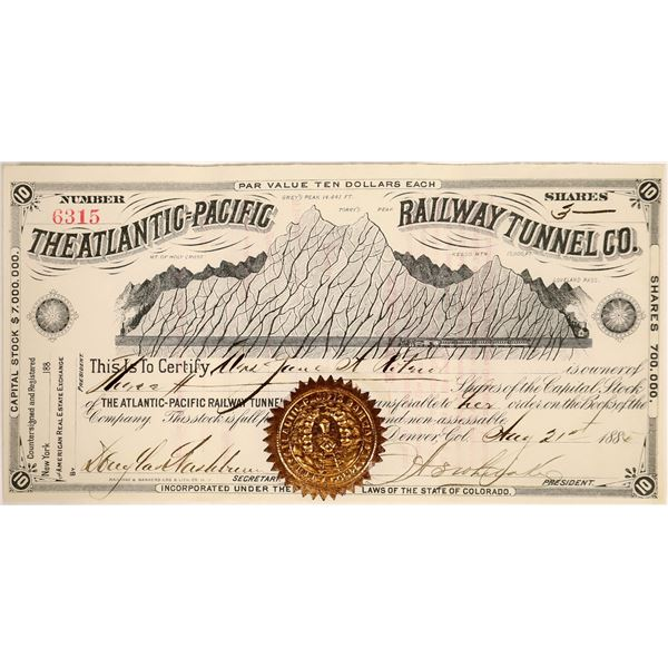 Atlantic=Pacific Railway Tunnel Stock, Colorado, 1885  [111881]