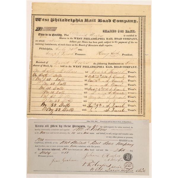 West Philadelphia Rail Road Company Stock Certificate  [134138]