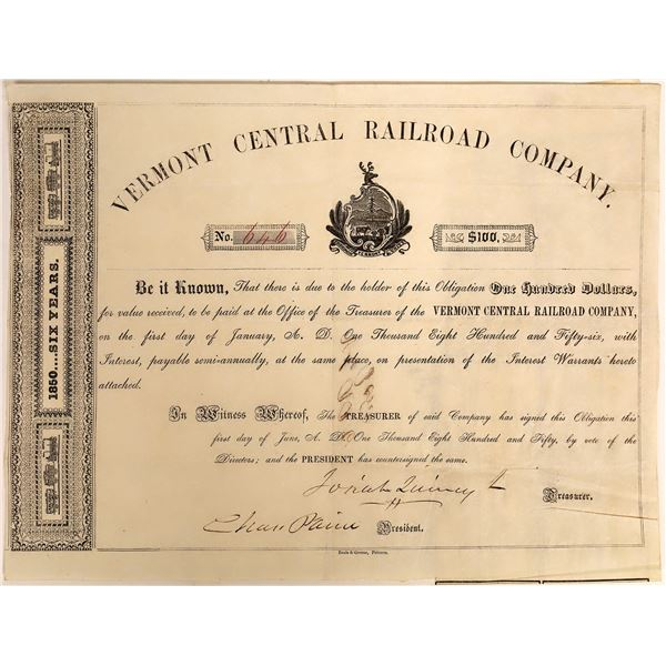 Vermont Central Railroad Co Bond Signed by Charles Paine, 1850  [118364]