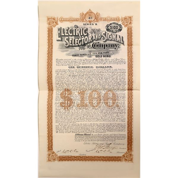 Electric Selector & Signal Company Gold Bond Certificate  [111873]
