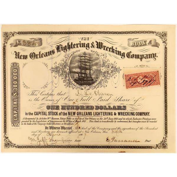 New Orleans Lightering & Wrecking Company Stock, 1867  [118372]
