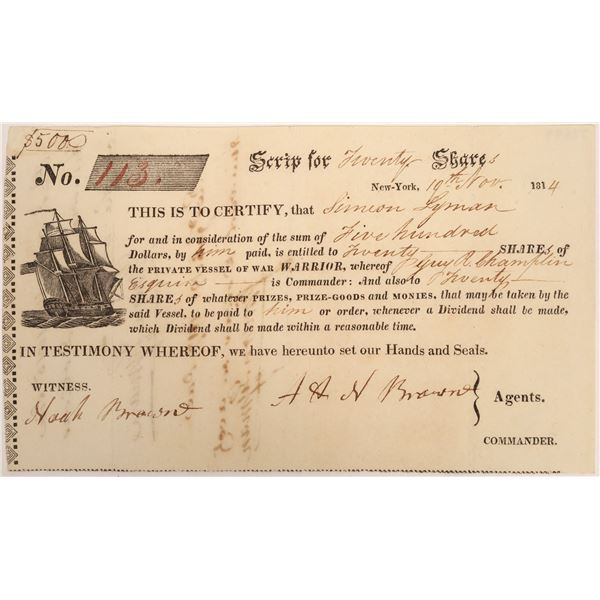 War of 1812 Privateer Ship Stock Certificate  [134116]