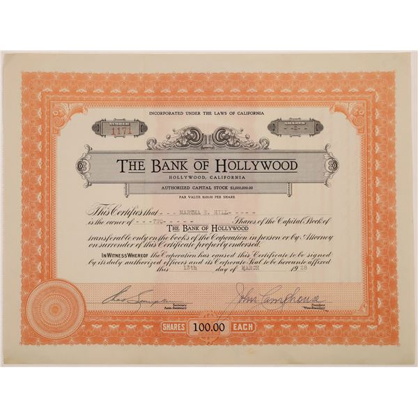 Bank of Hollywood Stock Certificate  [135437]