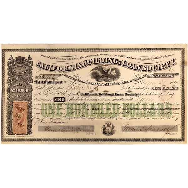 California Building & Loan Society Stock Certificate, 1866  [118367]