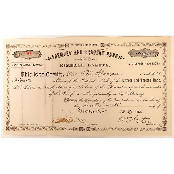 Farmer's & Trader's Bank of Kimball, Dakota Stock, D.T. 1886  [118582]