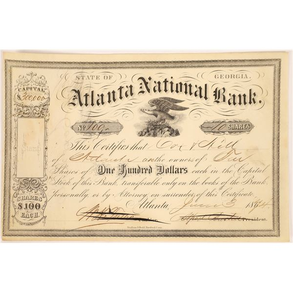 Atlanta National Bank Stock Certificate  [135439]