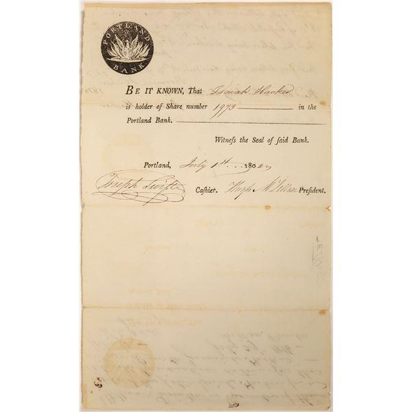 Portland Bank Stock Certificate  [134118]