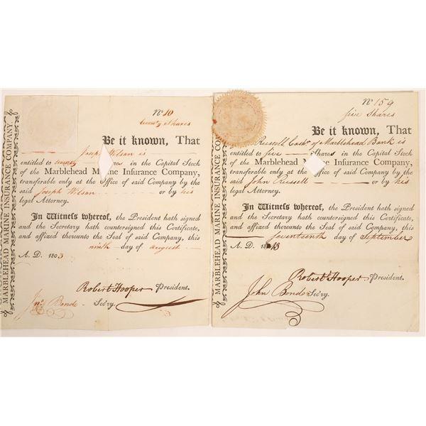 Marblehead Marine Insurance Co. Stock Certificate Pair  [134119]
