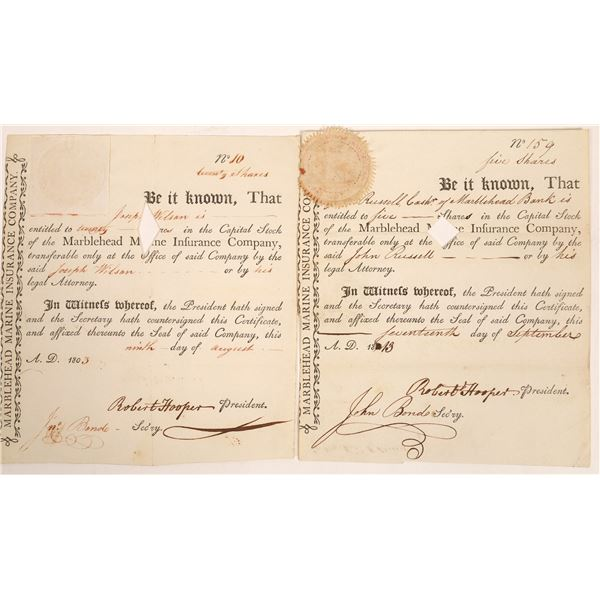 Marblehead Marine Insurance Co. Stock Certificate Pair  [134119]