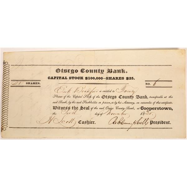 Otsego County Bank Stock Certificate  [134121]