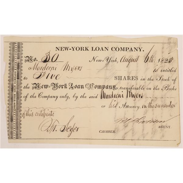 New York Loan Company Stock Issued to War of 1812 Hero  [134158]