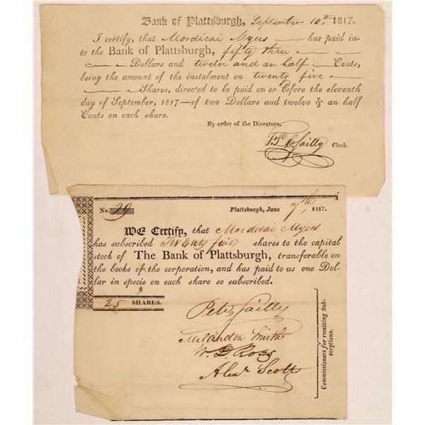 Bank of Plattsburgh Stock Certificates Issued to War of 1812 Hero  [134112]