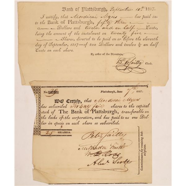 Bank of Plattsburgh Stock Certificates Issued to War of 1812 Hero  [134112]