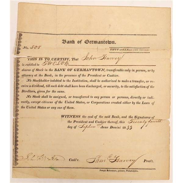 Bank of Germantown Stock Certificate  [134113]