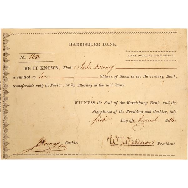 Harrisburg Bank Stock Certificate  [134109]