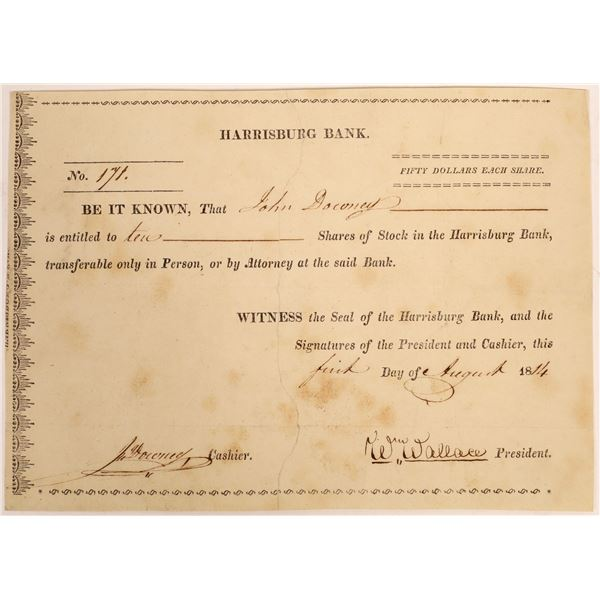 Harrisburg Bank Stock Certificate  [134110]