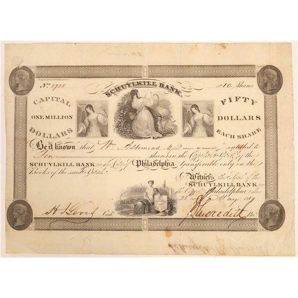 Schuylkill Bank Stock Certificate  [134114]
