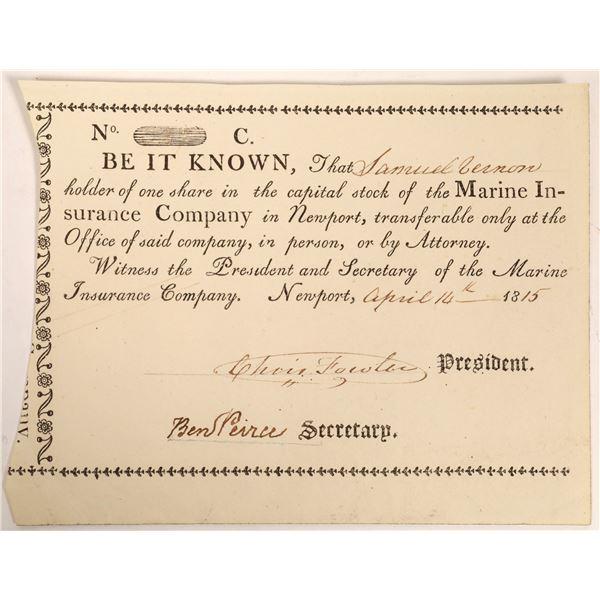 Marine Insurance Company Stock Certificate  [134115]
