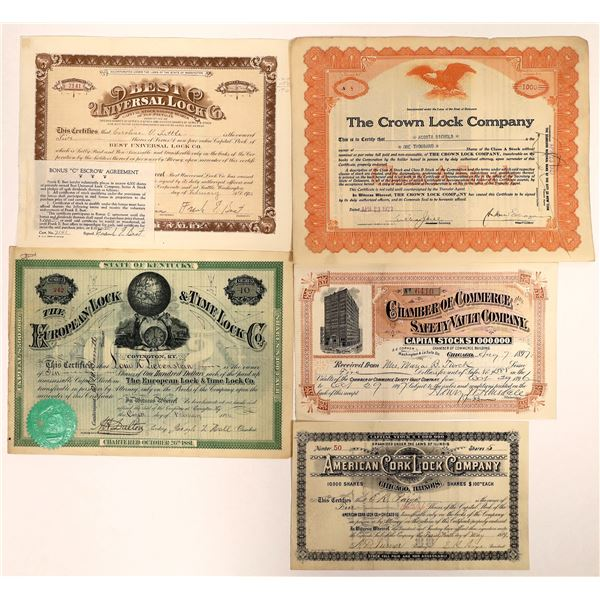 Lock Companies Stock Certificates and Safety Vault Receipt (5)  [127976]