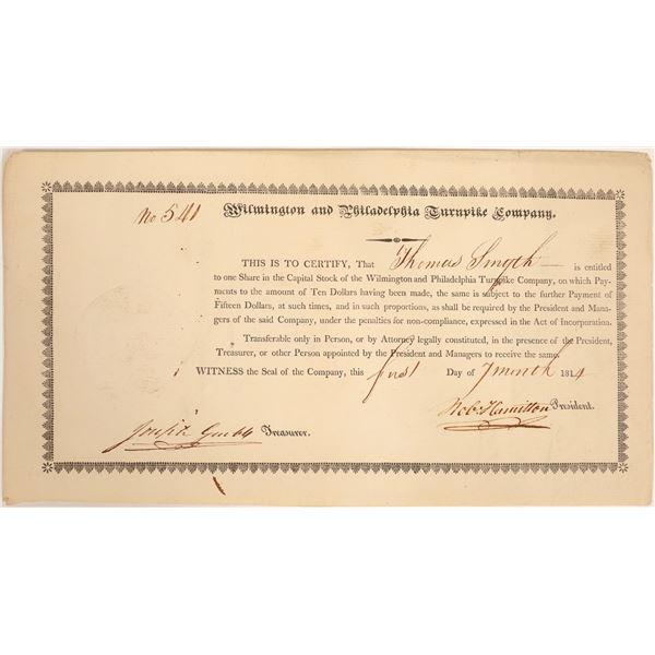Wilmington & Philadelphia Turnpike Company Stock Certificate  [134124]