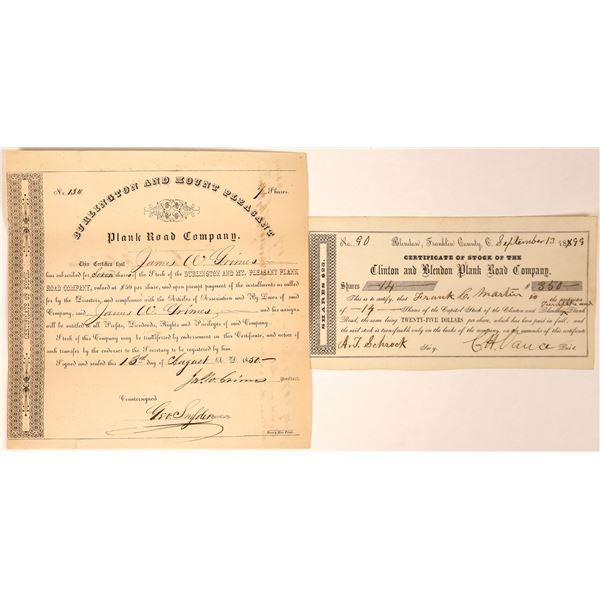 Iowa & Ohio Plank Road Companies Stock Certificates (2)  [127610]