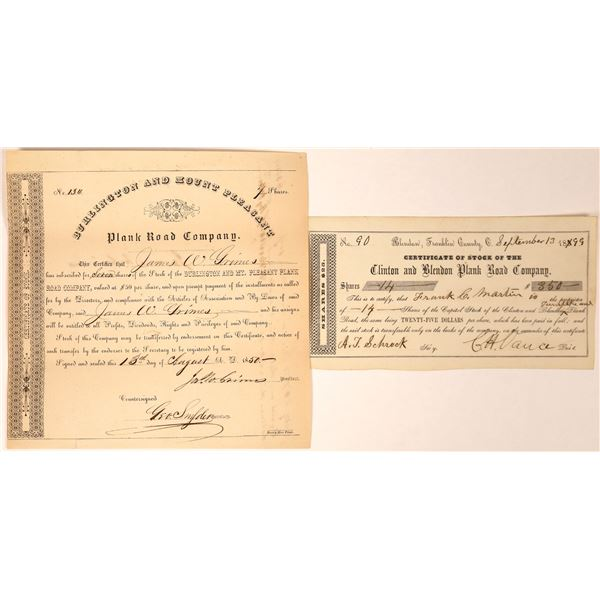 Iowa & Ohio Plank Road Companies Stock Certificates (2)  [127610]
