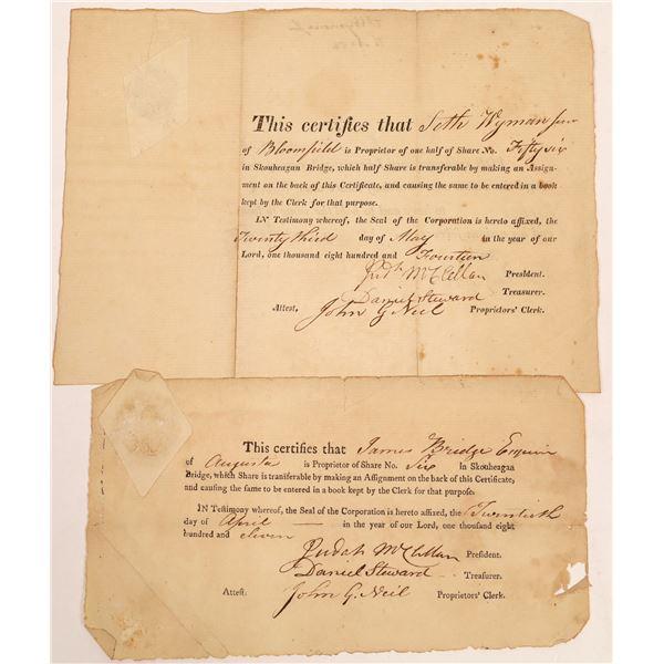 Skouheagan Bridge Stock Certificate Pair  [134128]