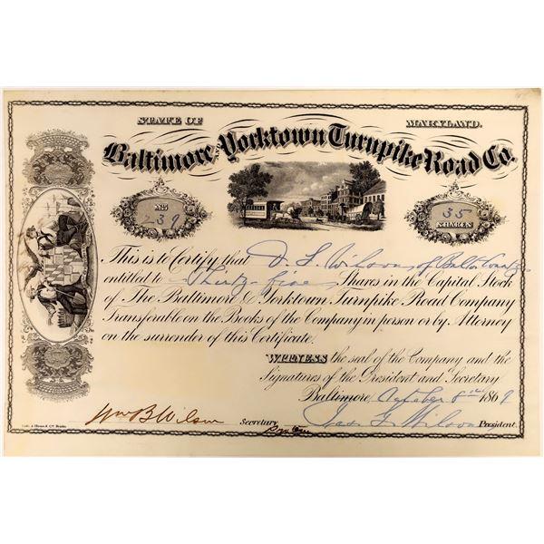 Baltimore & Yorktown Turnpike Road Stock Certificate, 1869  [118375]