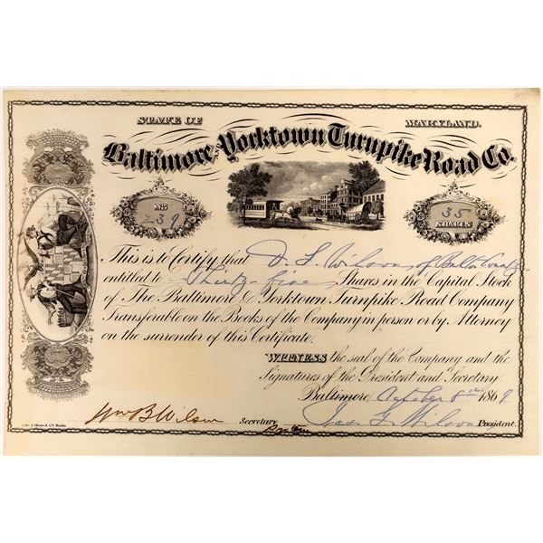Baltimore & Yorktown Turnpike Road Stock Certificate, 1869  [118375]
