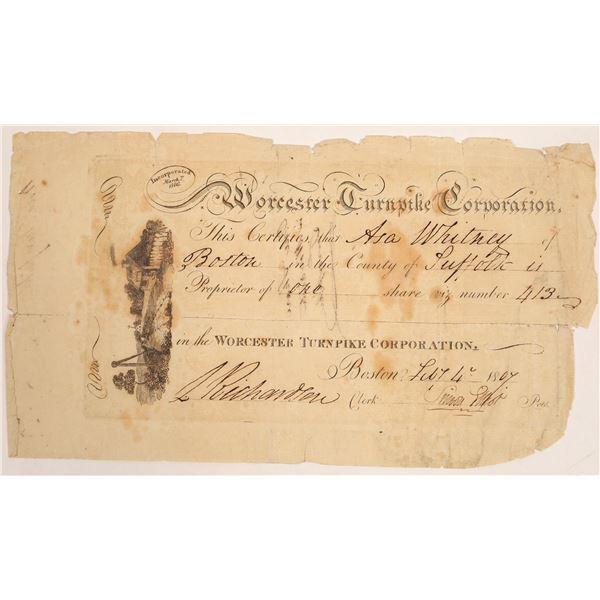 Worcester Turnpike Corporation Stock Certificate  [134125]