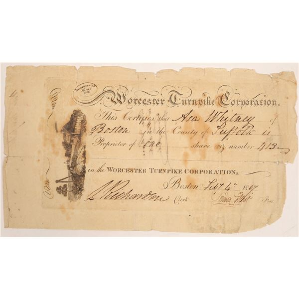 Worcester Turnpike Corporation Stock Certificate  [134125]
