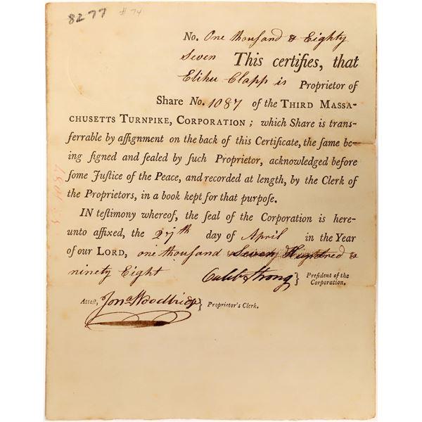 Third Massachusetts Turnpike Share Certificate, 1798  [111858]