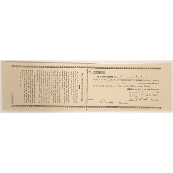 Washington Turnpike Company Stock Certificate  [134122]