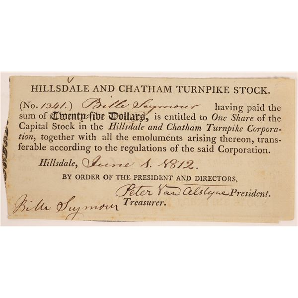 Hillsdale & Chatham Turnpike Corporation Stock Certificate  [134129]