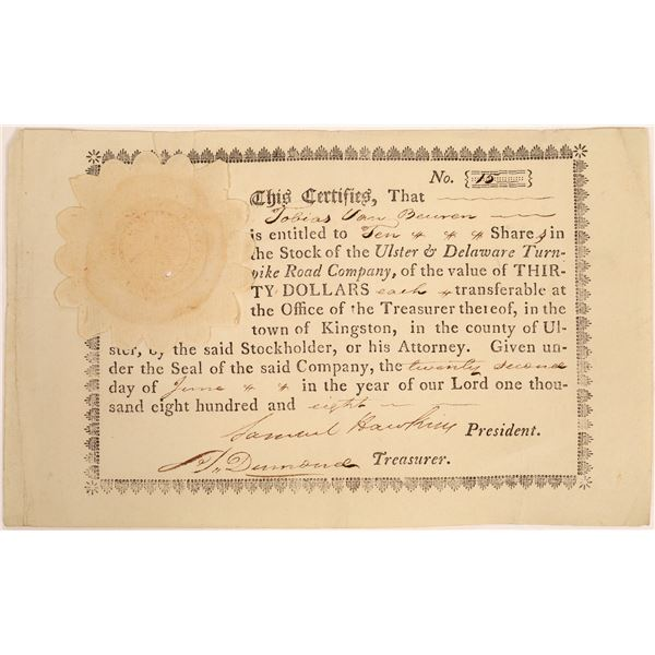 Ulster & Delaware Turnpike Road Company Stock Certificate  [134127]
