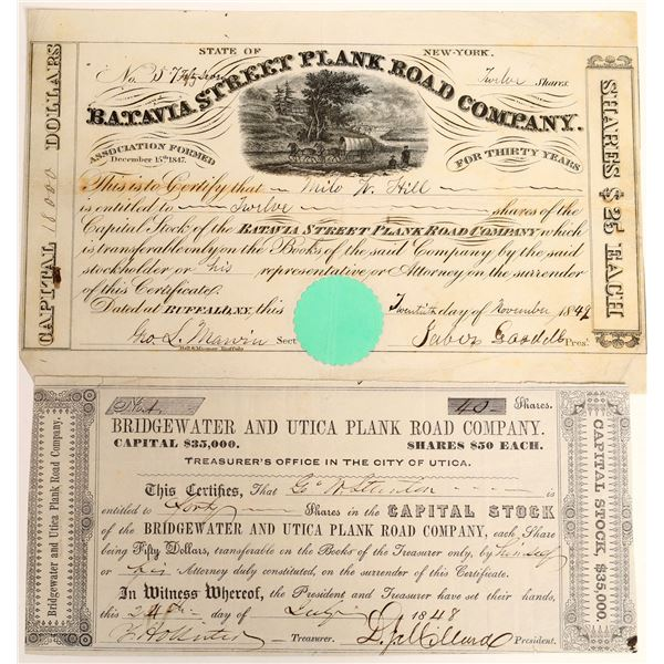 Two Plank Road Company Stock Certificates  [128265]