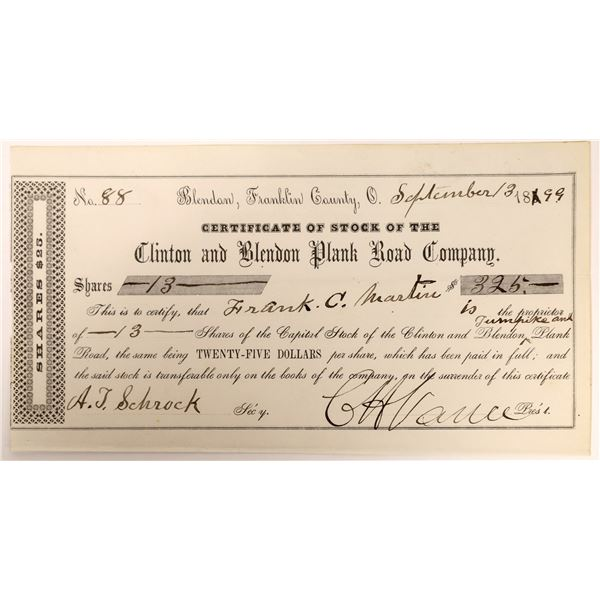 Plank Road Company, Clinton and Blendon, Ohio Stock Certificate  [127613]