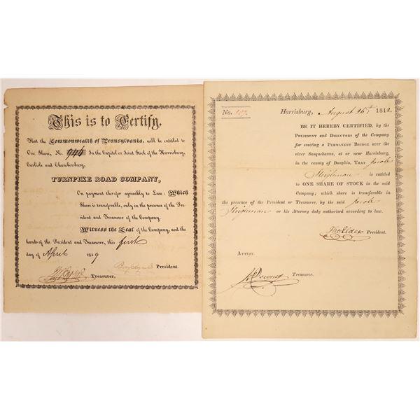 Harrisburg Turnpike and Bridge Stock Certificate Pair  [134131]