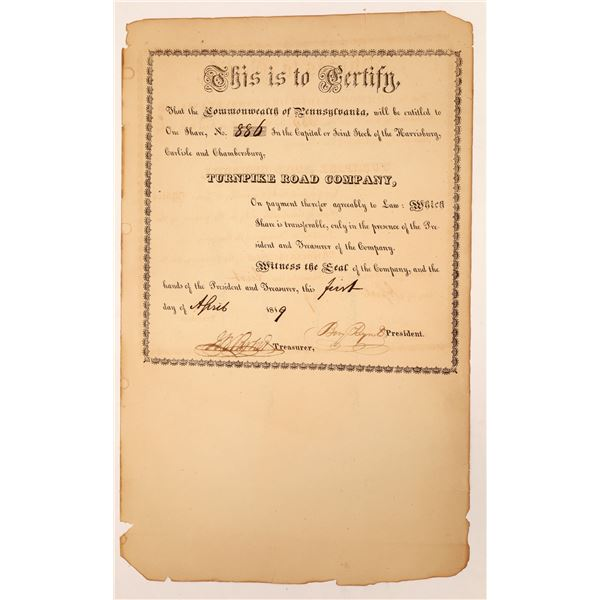 Harrisburg, Carlisle, & Chambersburg Turnpike Road Co. Stock Pair  [134141]