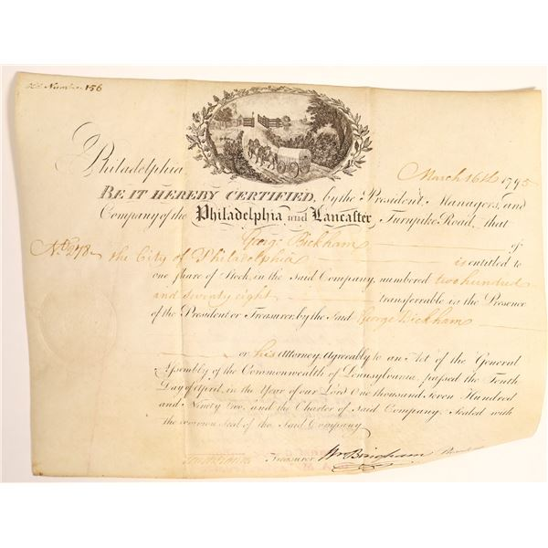 Philadelphia and Lancaster Turnpike, Road stock certificate, 1795  [132759]