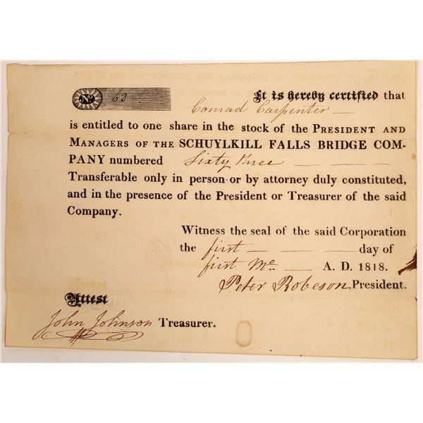 Schuylkill Falls Bridge Company Stock Certificate  [134136]